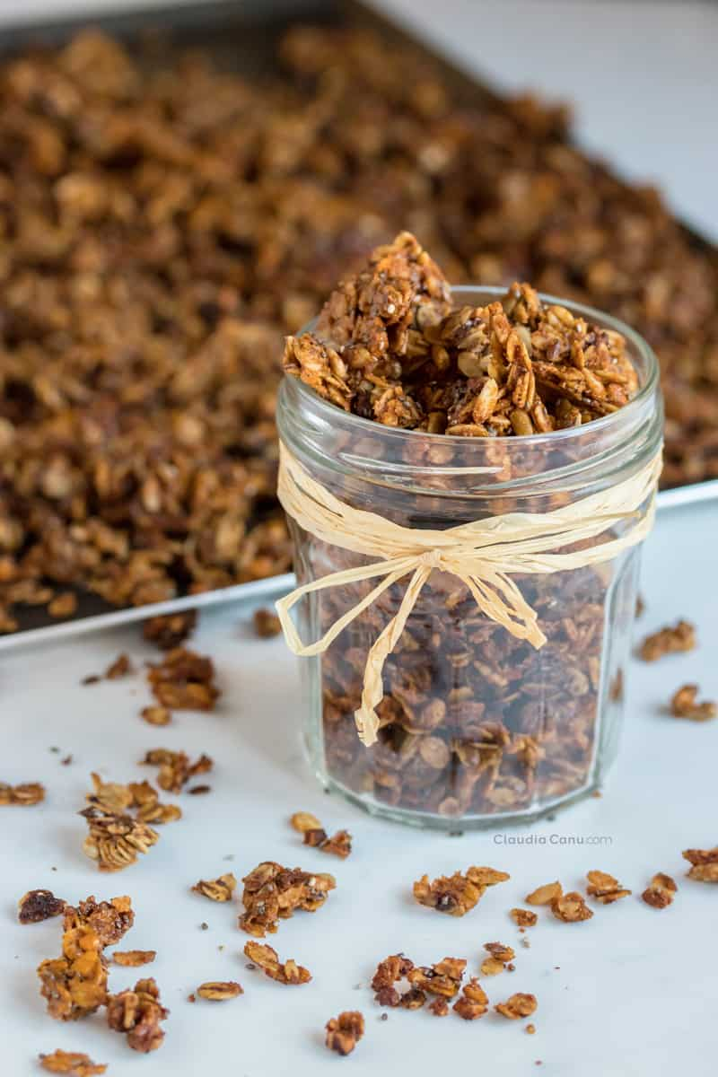 Almond butter granola in a jar