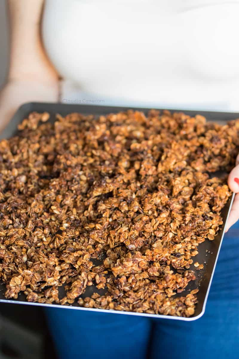 Almond butter granola on a tray