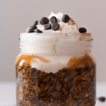 A glass jar with a delicious coffee oatmeal
