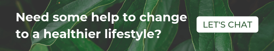"A banner with the sentence ""Need some help to change to a healthier lifestyle?"" and a button ""Let's chat"""