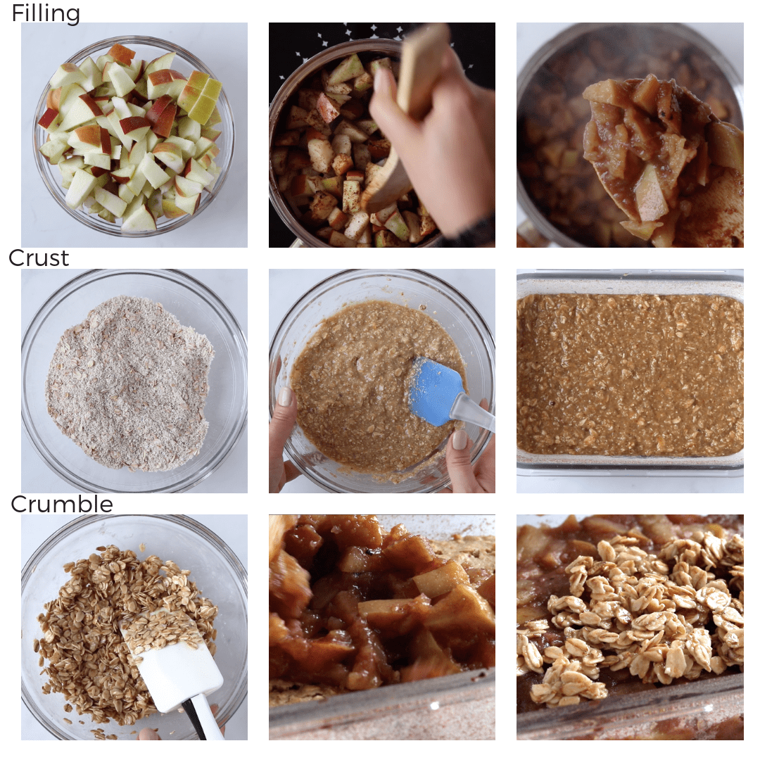 nine photos of the step-by-step to prepare a healthy apple crumble