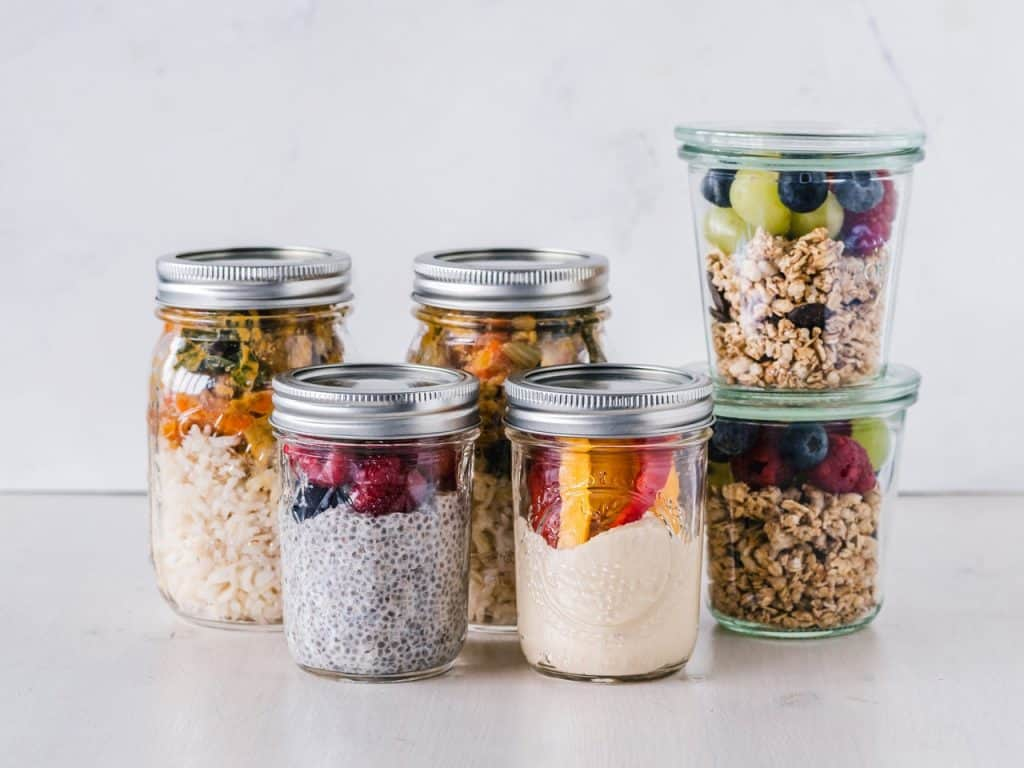Jars with food prepared with Meal Planning