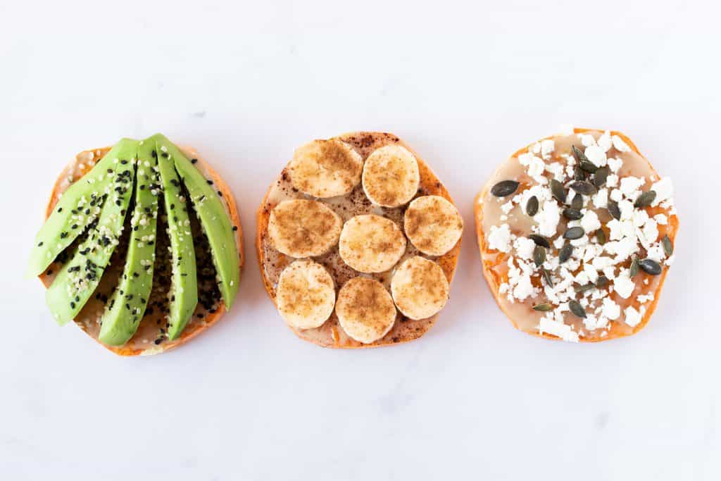 Three versions of sweet potato toasts