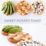 Two photos of three different types of sweet potato toasts