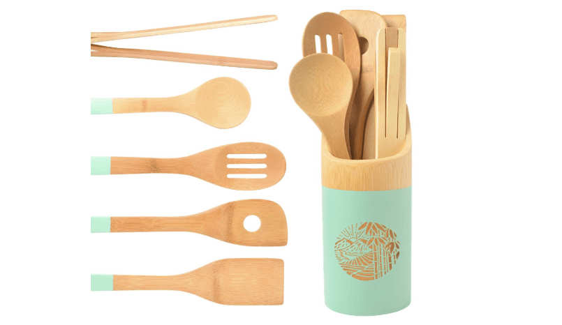 Organic 6 Piece Bamboo Cooking & Serving Utensils