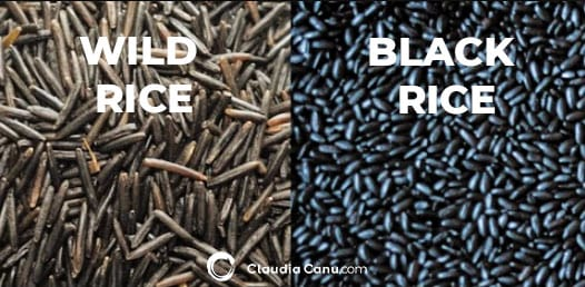 An image with wild rice on the lift and black rice on the right