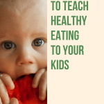 """Photo of a kid and the sentence """"The tool to teach healthy eating to your kids"""""""