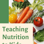 "Pinterest pin with the sentence ""Teaching nutrition to kids"""