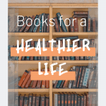 "Photo of a library with sentence ""Books for a healthier life"""