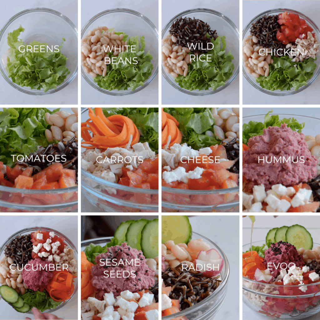 12 process shots to make a Buddha bowl