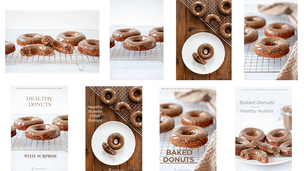 A collage of photos about donuts