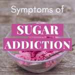 "A bowl with ice cream and the sentence ""Symptoms of sugar addiction"""