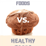 """A muffin and the sentence """"Unhealthy Foods vs. Healthy Foods"""""""
