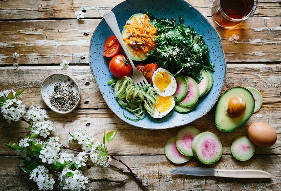 A plate with salad for nutrition motivation