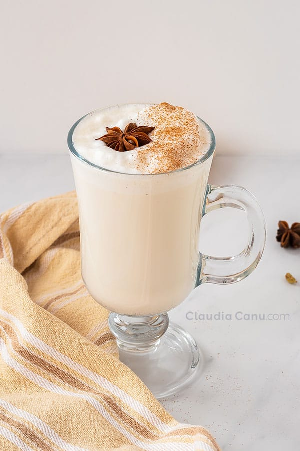 Chai latte in a tall glass