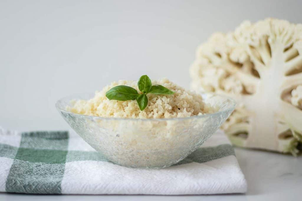 A bowl with cauliflower rice